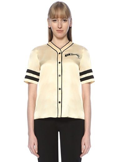 Scotch & Soda Kısa Kollu Şerit Detaylı Gömlek Krem